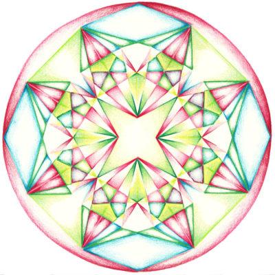 geometrische mandala tekenen kristal kleuren Vedisch vierkant